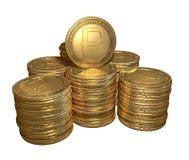 Pila de monedas de oro con el símbolo de la rublo en el fondo aislado Fotografía de archivo libre de regalías