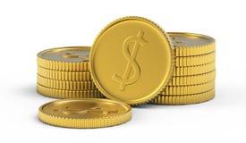 Pila de monedas de oro del dólar Fotos de archivo libres de regalías