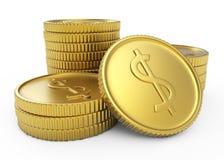 Pila de monedas de oro del dólar Fotos de archivo