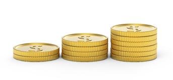 Pila de monedas de oro del dólar Imagen de archivo libre de regalías