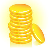 Pila de monedas de oro, vector. Foto de archivo