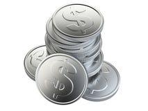Pila de monedas de plata aisladas en blanco Imagenes de archivo