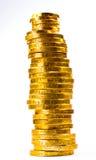 Pila de monedas del chocolate del oro   Imagen de archivo libre de regalías