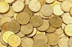 Pila de 10 monedas del euro de los centavos Foto de archivo libre de regalías