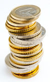 Pila de monedas euro Fotografía de archivo
