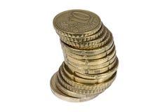 Pila de monedas euro del centavo Fotografía de archivo