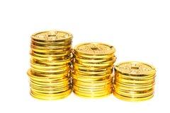 Pila de monedas de oro chinas fotografía de archivo libre de regalías