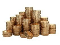 Pila de monedas de oro Concepto del premio del dinero Imágenes de archivo libres de regalías