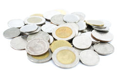 pila de monedas tailandesas del baño Foto de archivo