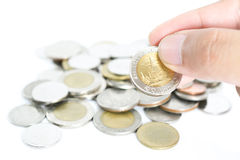 pila de monedas tailandesas del baño Imagen de archivo