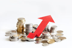 Pila de muestra polaca del extracto de las finanzas del aumento del dinero Fotografía de archivo libre de regalías