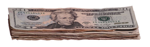 Pila de notas de 20 dólares Fotos de archivo