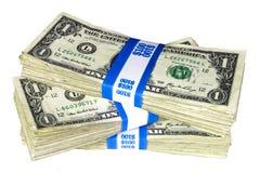 Pila de notas liadas del Uno-Dólar imágenes de archivo libres de regalías