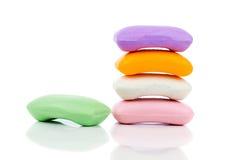 Pila de nuevas barras coloridas del jabón Fotografía de archivo libre de regalías