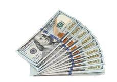 Pila de nuevos 100 billetes de dólar Imagenes de archivo
