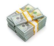 Pila de nuevos 100 dólares de EE. UU. de billetes de banco 2013 de la edición (cuentas) s ilustración del vector