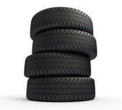 Pila de nuevos neumáticos stock de ilustración