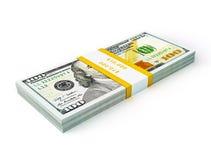 Pila de nuevos nuevos 100 dólares de EE. UU. de billetes de banco 2013 de la edición (cuentas) s Fotografía de archivo libre de regalías
