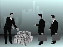 Pila de ofrecimiento del hombre de negocios de efectivo stock de ilustración