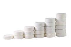 Pila de píldoras blancas Foto de archivo libre de regalías