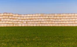 Pila de paja en el campo Fotos de archivo