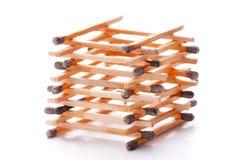 Pila de palillos quemados del emparejamiento Imagen de archivo