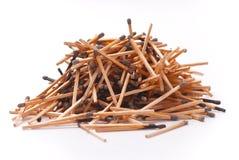 Pila de palillos quemados del emparejamiento fotos de archivo libres de regalías