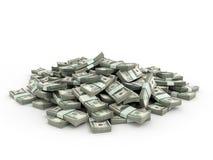 Pila de paquetes de billetes de dólar ilustración del vector