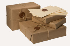 Pila de paquetes del correo Imagen de archivo