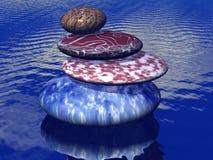 Pila de piedras equilibradas en el mar stock de ilustración