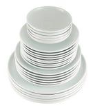 Pila de placas blancas limpias del plato aisladas Fotografía de archivo