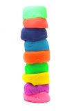 Pila de plasticine colorido aislada en blanco Foto de archivo libre de regalías