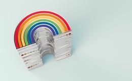 Pila de plata del arco iris de LGBTQ para el orgullo gay, LGBT, concepto bisexual, homosexual del s?mbolo Aislado en fondo rosado ilustración del vector