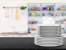 Pila de platos imagen de archivo