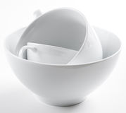 Pila de platos blancos limpios Imagen de archivo