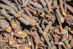 Pila de preparación de la leña de la madera para el invierno fotos de archivo