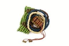 Pila de pulseras de madera Fotos de archivo libres de regalías