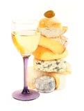 Pila de queso y de vino clasificados Imagen de archivo