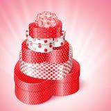 Pila de regalos en forma de corazón Fotografía de archivo libre de regalías