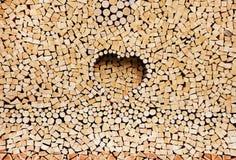 Pila de registros de madera como fondo Imágenes de archivo libres de regalías