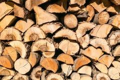 Pila de registros de madera listos Fotografía de archivo libre de regalías