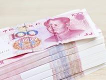 Pila de Renminbi (yuan chino) Imágenes de archivo libres de regalías