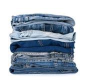 Pila de ropa azul del dril de algodón Imagen de archivo