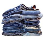Pila de ropa azul del dril de algodón Fotografía de archivo