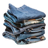 Pila de ropa azul del dril de algodón foto de archivo libre de regalías