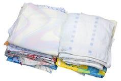 Pila de ropa de cama vieja Foto de archivo libre de regalías