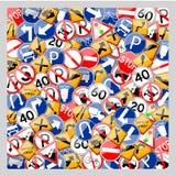 Pila de señal de tráfico Imagen de archivo libre de regalías