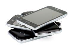 Pila de smartphones Imagen de archivo libre de regalías