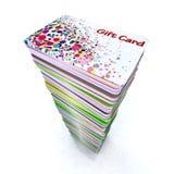 Pila de tarjetas de regalo coloreadas stock de ilustración