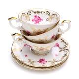 Pila de tazas de té antiguas Fotos de archivo
